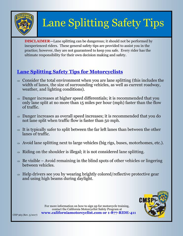 Lane Splitting Guidelines Temp
